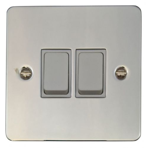 G&H FC2W Flat Plate Polished Chrome 2 Gang 1 or 2 Way Rocker Light Switch